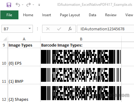 PDF417 Native Excel Barcode Generator 16.09 Free download